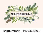 christmas frame with winter... | Shutterstock .eps vector #1499331353
