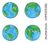 Vector Set Of Cartoon Globe...