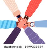 hands putting together. people... | Shutterstock .eps vector #1499339939