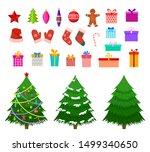 christmas flat elements. santa... | Shutterstock .eps vector #1499340650