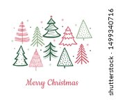 doodle christmas tree card.... | Shutterstock .eps vector #1499340716