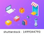 shopping online objects... | Shutterstock .eps vector #1499344793