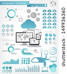 Vector flat design infographic elements collection. Cloud connected to devices vector illustration with various of infographic elements as charts, diagrams and infographic map for data visualization. - stock vector