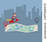 pizza delivery service. the guy ... | Shutterstock .eps vector #1499368319