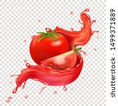 splashing juice with red tomato ... | Shutterstock .eps vector #1499371889