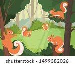 Squirrel In Forest. Wild...