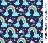 cartoon rainbow vector pattern...   Shutterstock .eps vector #1499388770
