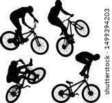 silhouette of cyclist doing... | Shutterstock .eps vector #1499394203