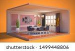 interior dining area. 3d...   Shutterstock . vector #1499448806