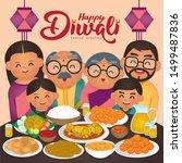 diwali deepavali vector... | Shutterstock .eps vector #1499487836