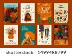 set of cute autumn... | Shutterstock .eps vector #1499488799