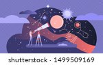 Astronomy vector illustration. Flat tiny space research study person concept. Explore stars and galaxy knowledge with telescope. Horoscope zodiac education with astrology methods and science discovery