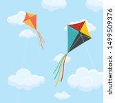 paper kite on blue sky vector...   Shutterstock .eps vector #1499509376
