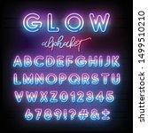neon light alphabet. multicolor ...   Shutterstock .eps vector #1499510210