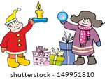 children and gifts | Shutterstock .eps vector #149951810