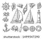 set sea adventure. anchor ... | Shutterstock .eps vector #1499547290