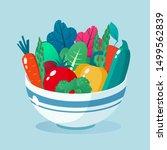 bowl full of vegetables vector... | Shutterstock .eps vector #1499562839