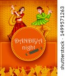 indian people dancing garba on... | Shutterstock .eps vector #1499571263