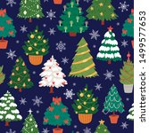 seamless christmas trees  firs... | Shutterstock .eps vector #1499577653