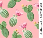 cactus with pink flowers on the ...   Shutterstock .eps vector #1499588540