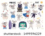 cute mouse astronaut  pirate ... | Shutterstock .eps vector #1499596229