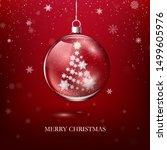 transparent glossy christmas... | Shutterstock .eps vector #1499605976