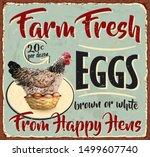 vintage farm fresh eggs metal...   Shutterstock .eps vector #1499607740