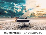 piano in nature..surreal image... | Shutterstock . vector #1499609360