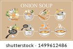 onion soup recipe. cooking... | Shutterstock .eps vector #1499612486