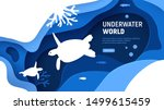 Stock vector underwater world page template paper art underwater world concept with turtles silhouette paper 1499615459