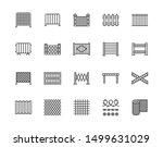 Fence Flat Line Icons Set. Woo...