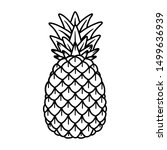 pineapple hand drawing old... | Shutterstock .eps vector #1499636939