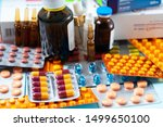 pile of colorful medical pills... | Shutterstock . vector #1499650100