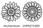 set of stylized sunflowers.... | Shutterstock .eps vector #1499671400