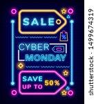 neon poster sale cyber monday ... | Shutterstock .eps vector #1499674319