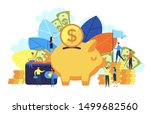 saving into a piggy bank. small ... | Shutterstock .eps vector #1499682560