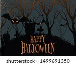 happy halloween typography and... | Shutterstock .eps vector #1499691350