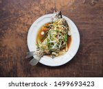 Top View Steamed Sea Bass In...