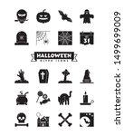 set of 20 halloween holiday... | Shutterstock .eps vector #1499699009