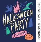 halloween party. coloring... | Shutterstock .eps vector #1499723813