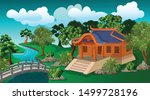 the  house in garden near the...   Shutterstock .eps vector #1499728196