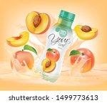 bottle of peach juice falls on... | Shutterstock .eps vector #1499773613