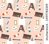 art supplies in a seamless... | Shutterstock .eps vector #1499783309