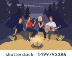 group of friends camping. they... | Shutterstock .eps vector #1499793386
