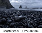 Black Beach In Iceland With...