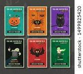 happy halloween vector greeting ... | Shutterstock .eps vector #1499825420