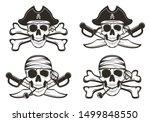 Pirate Skull Set  Vector Hand...