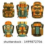 camping backpack set  ... | Shutterstock .eps vector #1499872706