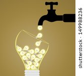faucet pouring the idea bulb to ... | Shutterstock .eps vector #149988236