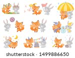Stock vector humanized fox and the hare are friends vector illustration on a white background 1499886650